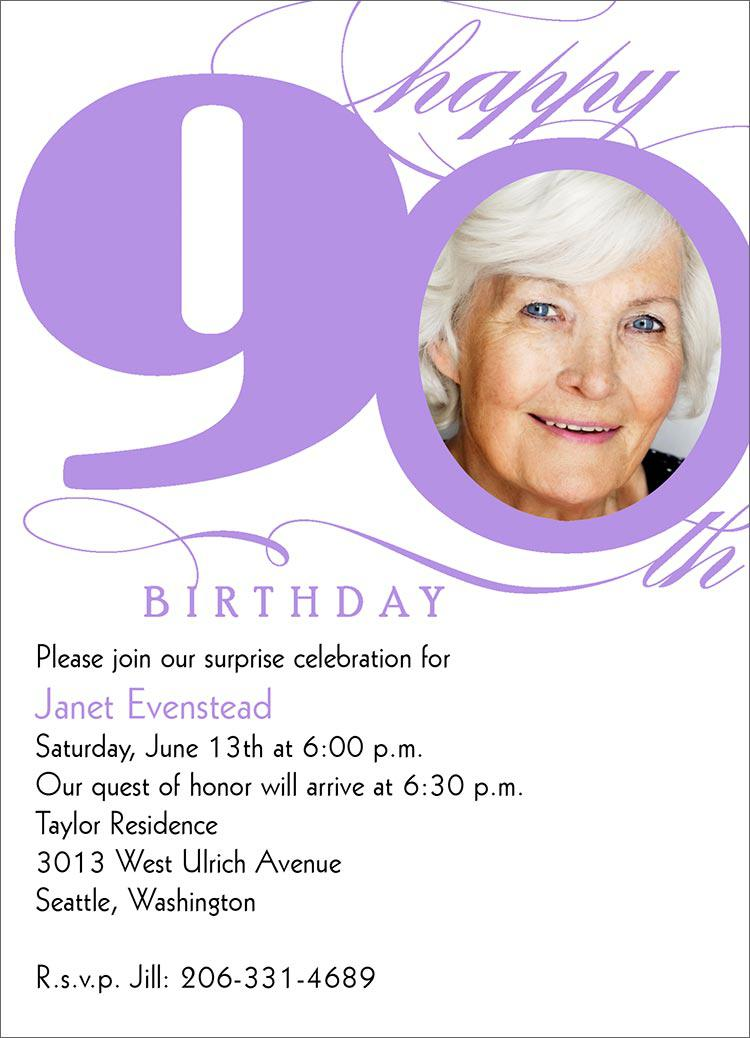 90th Milestone Birthday Invitations
