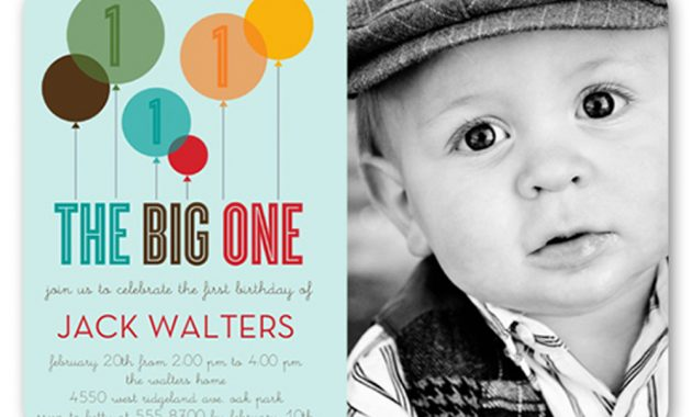 Baby's 1st Birthday Invitations The Big One Blue Custome Birthday Invitation