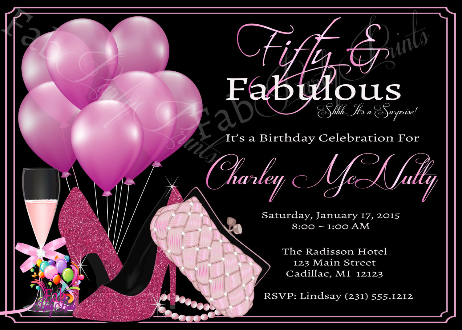 Baloon Women 50th Birthday Invitation Adult