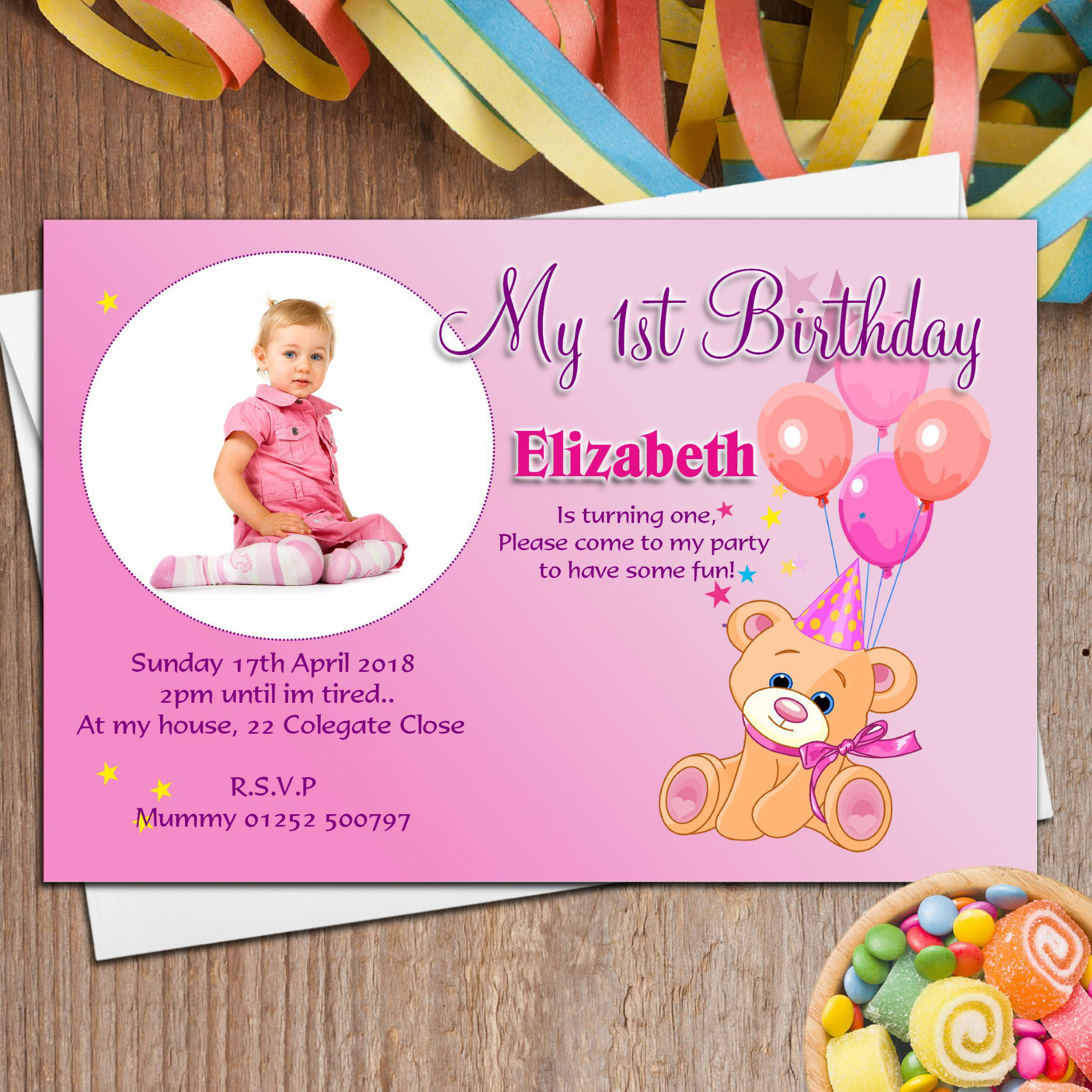 Birthday Invitation Cards Personalized Teddy Party For Girl