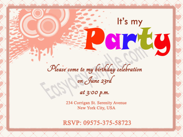 Birthday Invite Wording