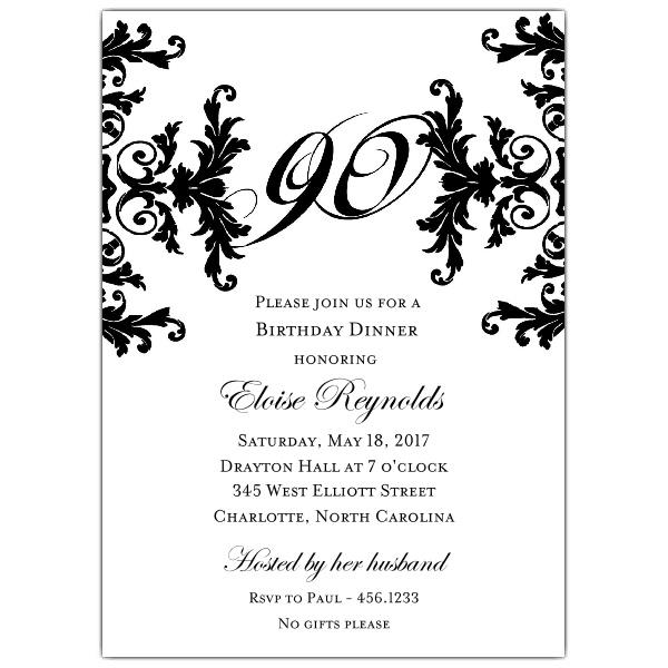 Black And White Decorative Framed 90th Birthday Invitations