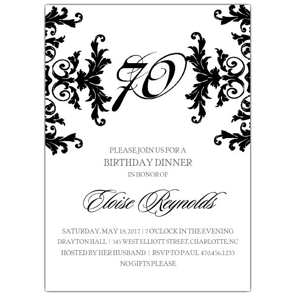 Black And White Decorative Framed 70th Birthday Invitations