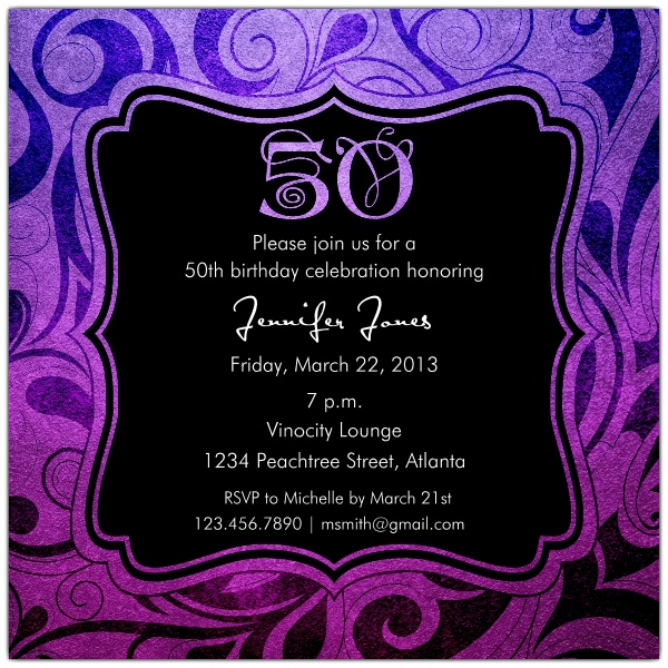 Brilliant Emblem 50th Birthday Party Invitations