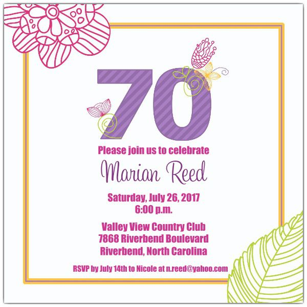 Celebrate 70 Floral Birthday Invitations