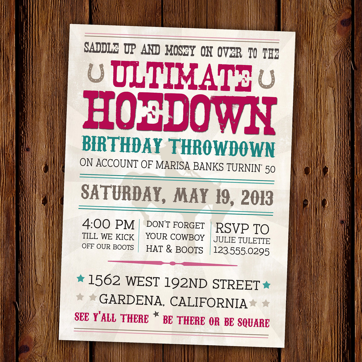 Country Western Birthday Invitations