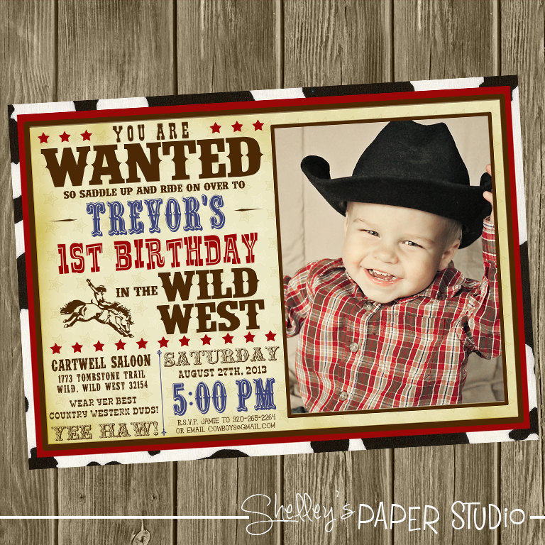 Cowboy Birthday Party Invitation Photo Option