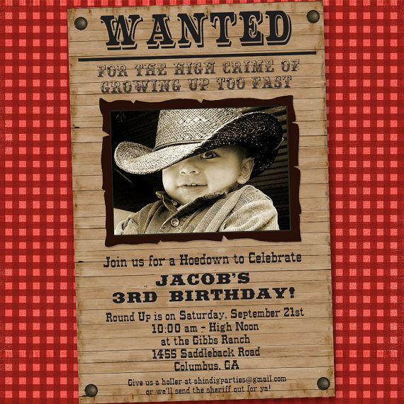 Cowboy Western Party Birthday Invitation