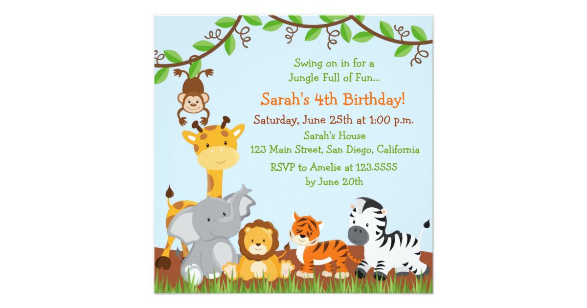 17 safari birthday invitations design templates free printable cute safari jungle birthday party invitations stopboris Choice Image