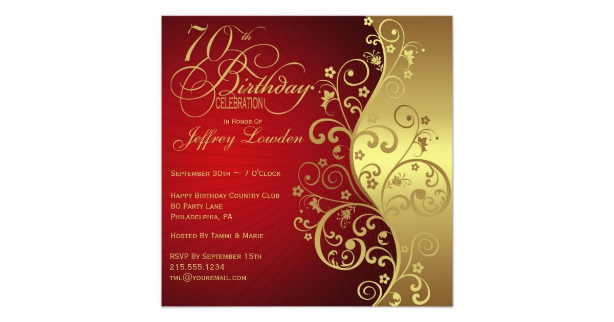 Elegant 70th Birthday Surprise Party Invitation
