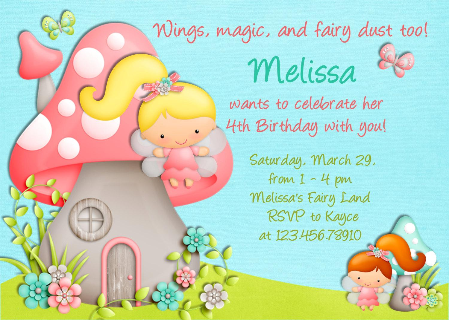 Fairy Party Birthday Invitation Cards Printable