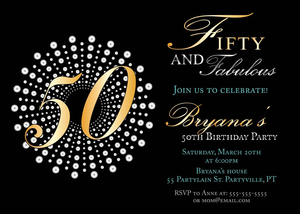 Fifty And Fabulous Birthday Invitations Templates