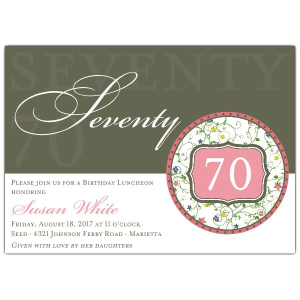 Flirty Floral 70th Birthday Invitations