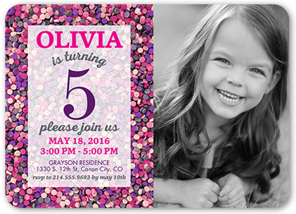 Girl Birthday Invitations Sprinkles Custom Invitation