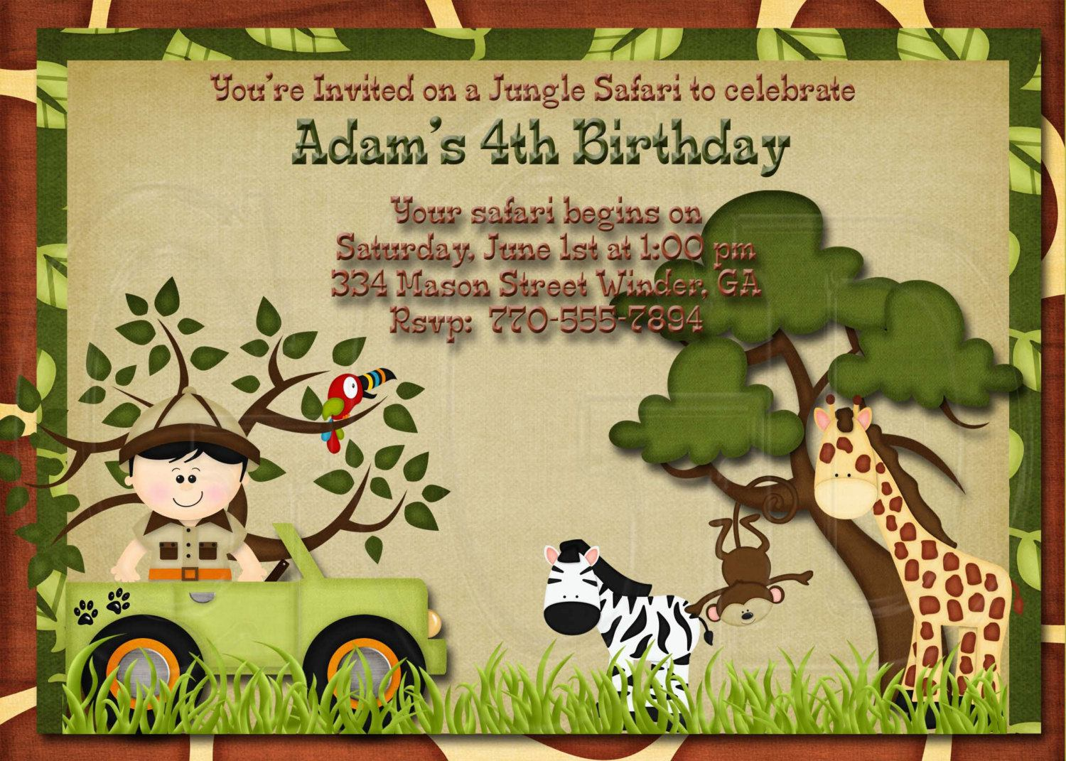 Girrafe And Zebra Jungle Safari Zoo Birthday Invitation