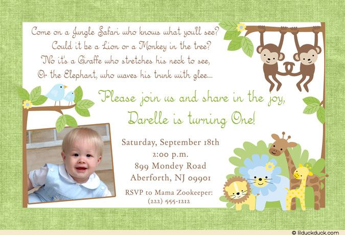 Green Safari Birthday Invitation With Little Boy Photo