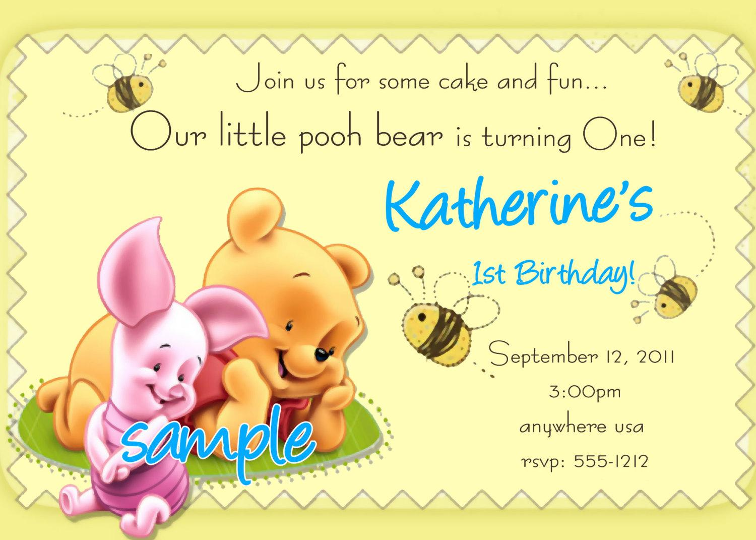 Winne The Pooh Invitation Cards For Birthday