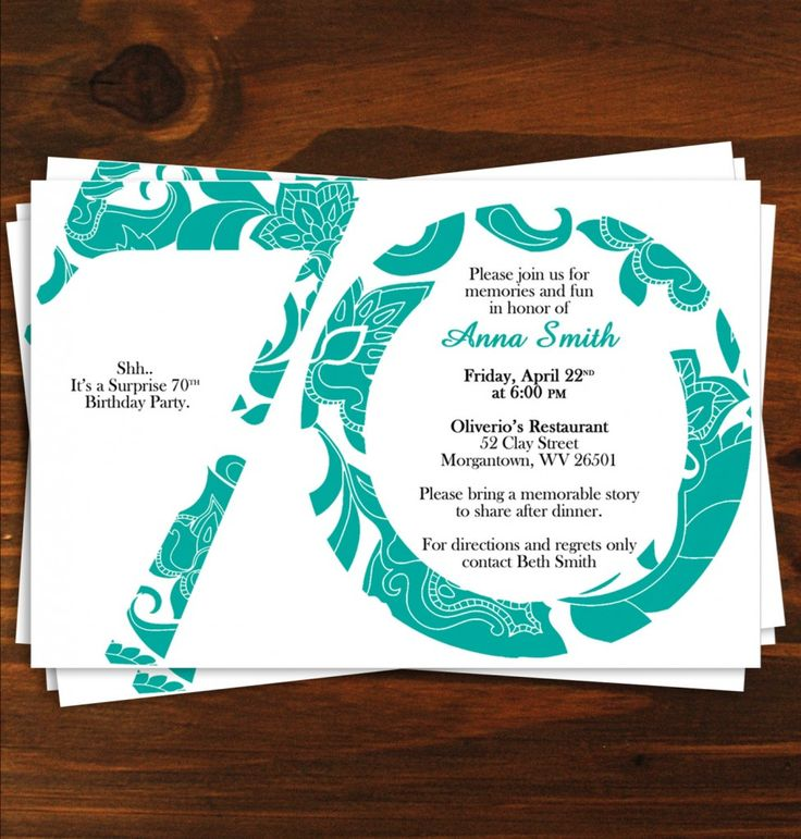 Invitations For 70th Birthday Party Templates