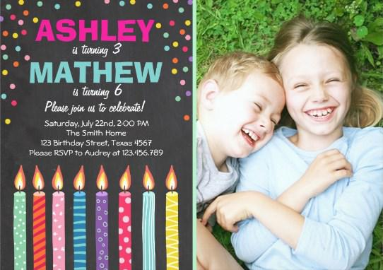Joint Twin Birthday Party Invitation Twins Dual