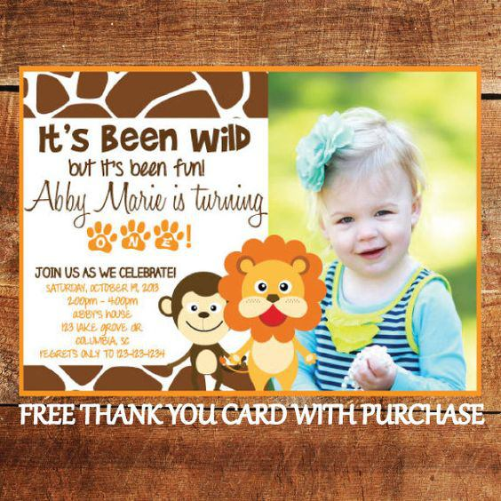 Jungle Animal 1st Birthday Invitation