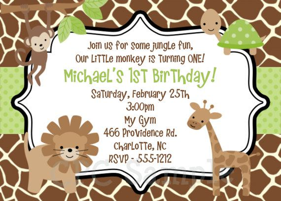 Jungle Monkey Safari Birthday Invitatation