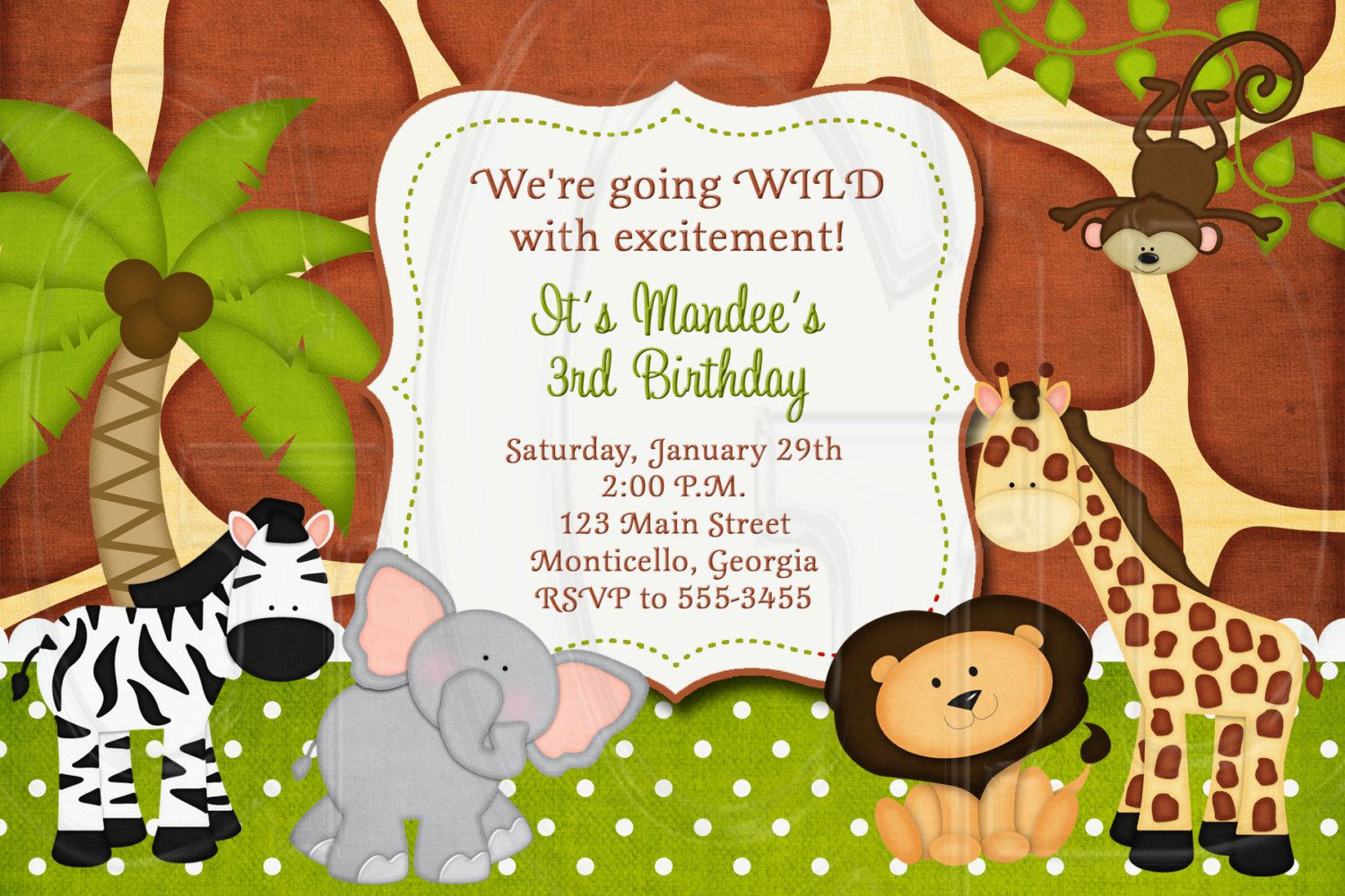 Jungle Safari Birthday Invitation Wording