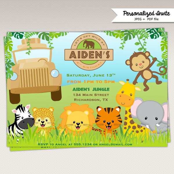Jungle Safari Birthday Party Printable Invitations