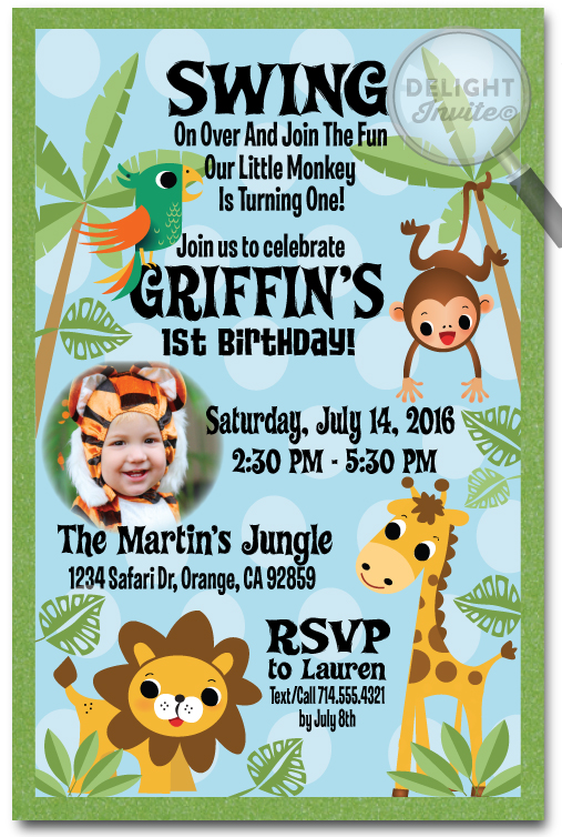 Jungle Safari Party Birthday Invitation