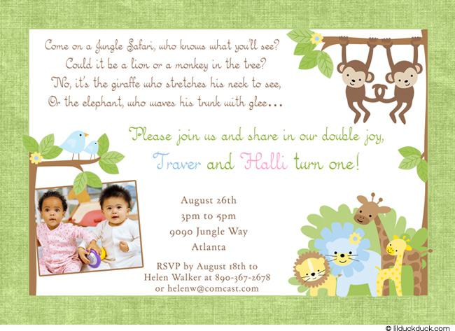 Jungle Safari Twin Birthday Invitations