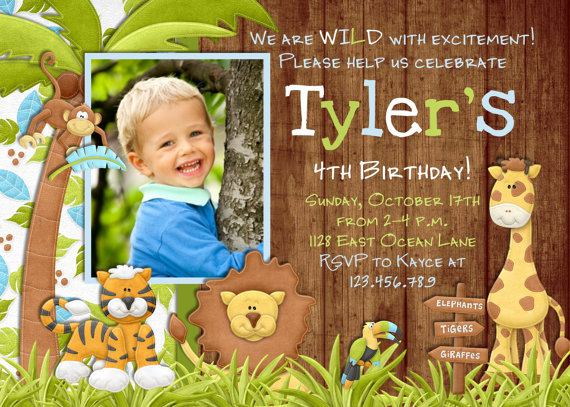 Jungle Safari Zoo Birthday Invitation Printable For Boy