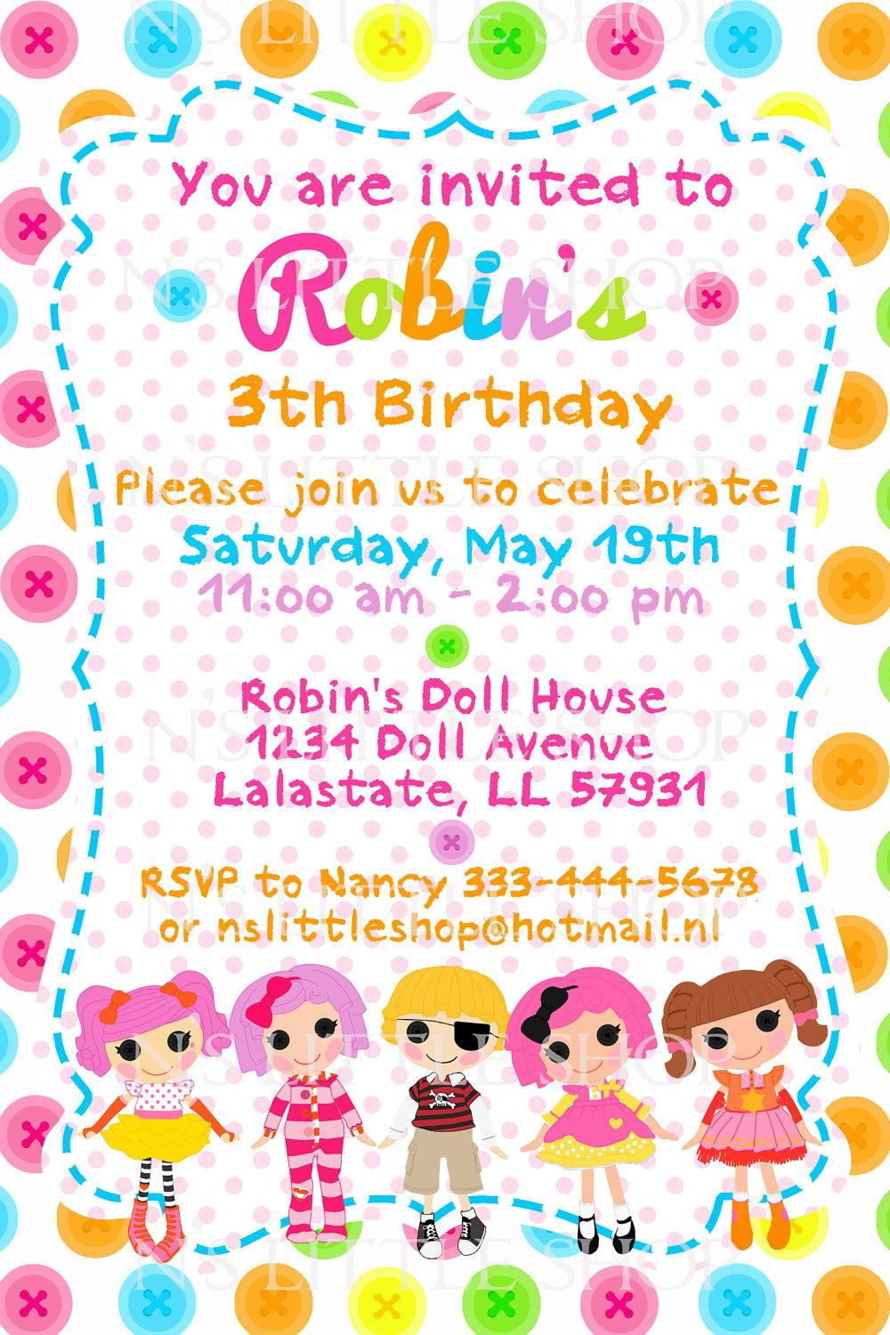 Lalaloopsy 3rd Party Invitations Card