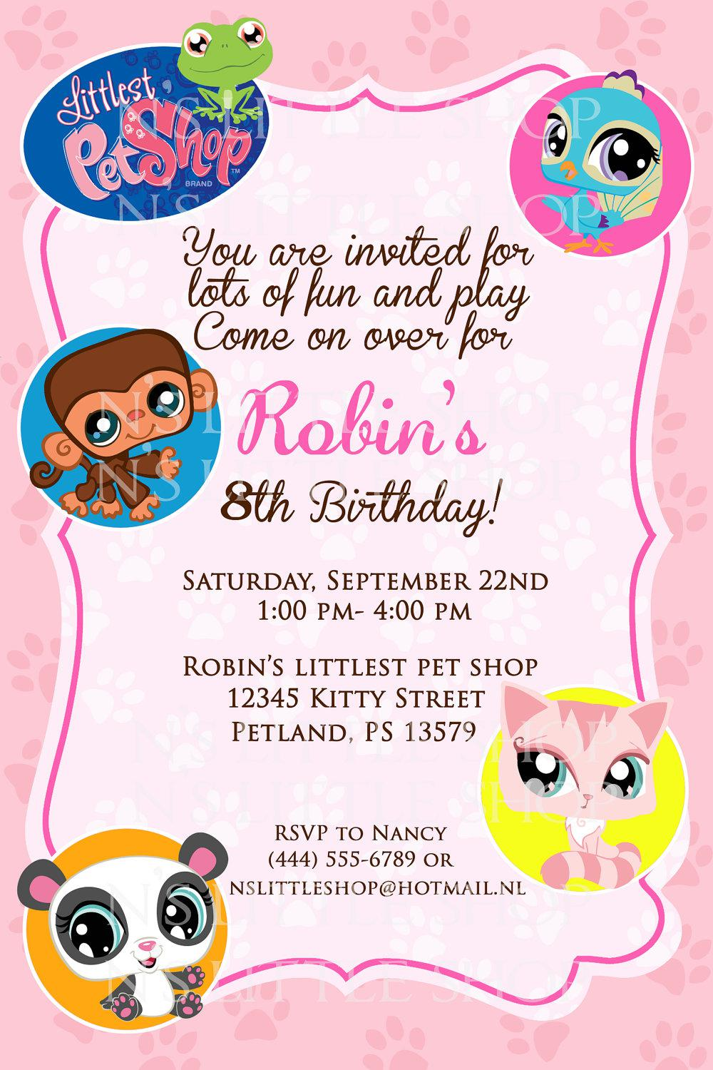 Littlest Pet Shop Birthday Invitations Card