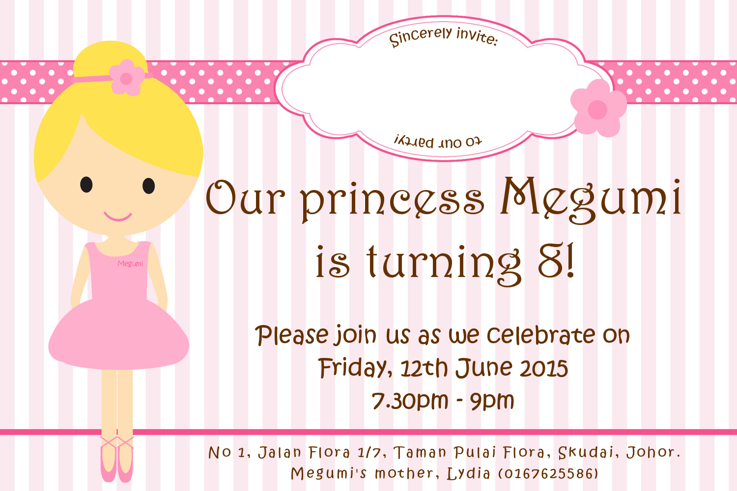 Megumi Birthday Party Invitations Cards