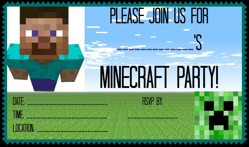 Minecraft Birthday Party Invitations