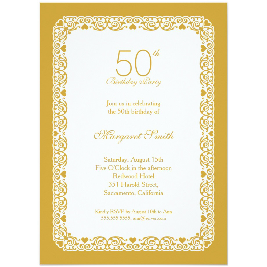 Personalized 50 Birthday Invitations Wording Templates
