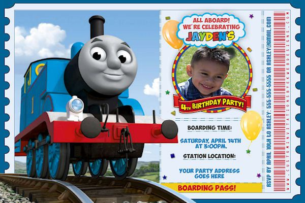 Personalized Thomas The Train Birthday Invitations