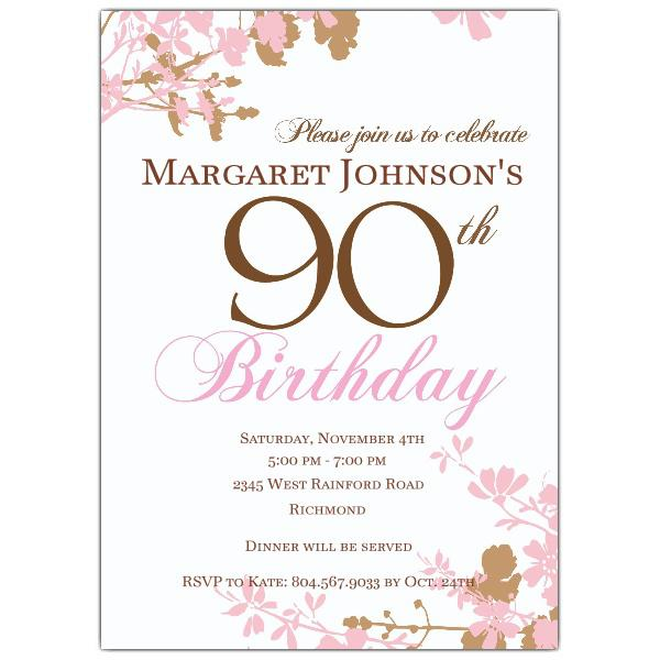 Pink And Brown Floral 90th Birthday Invitations