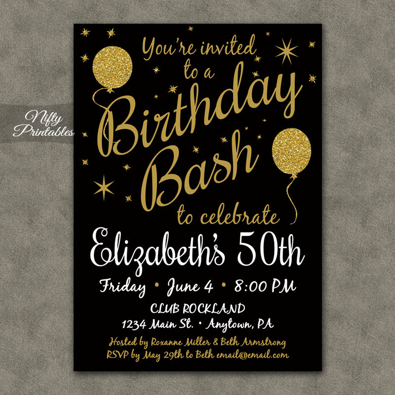Printable 50 Black Gold Glitter Balloon Birthday Invitations