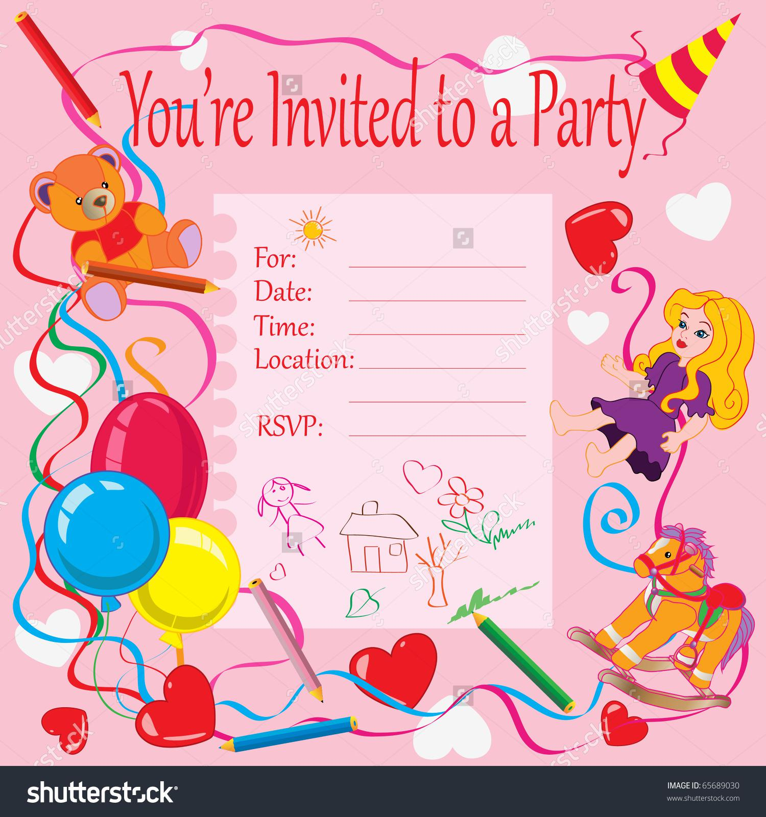 Printable Invitation Card For Birthday Party For Kids  Birthday Party Card Template