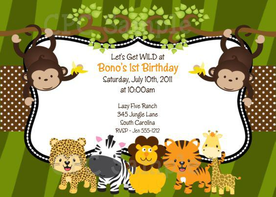 Printable Safari Birthday Invitations With The Zoo