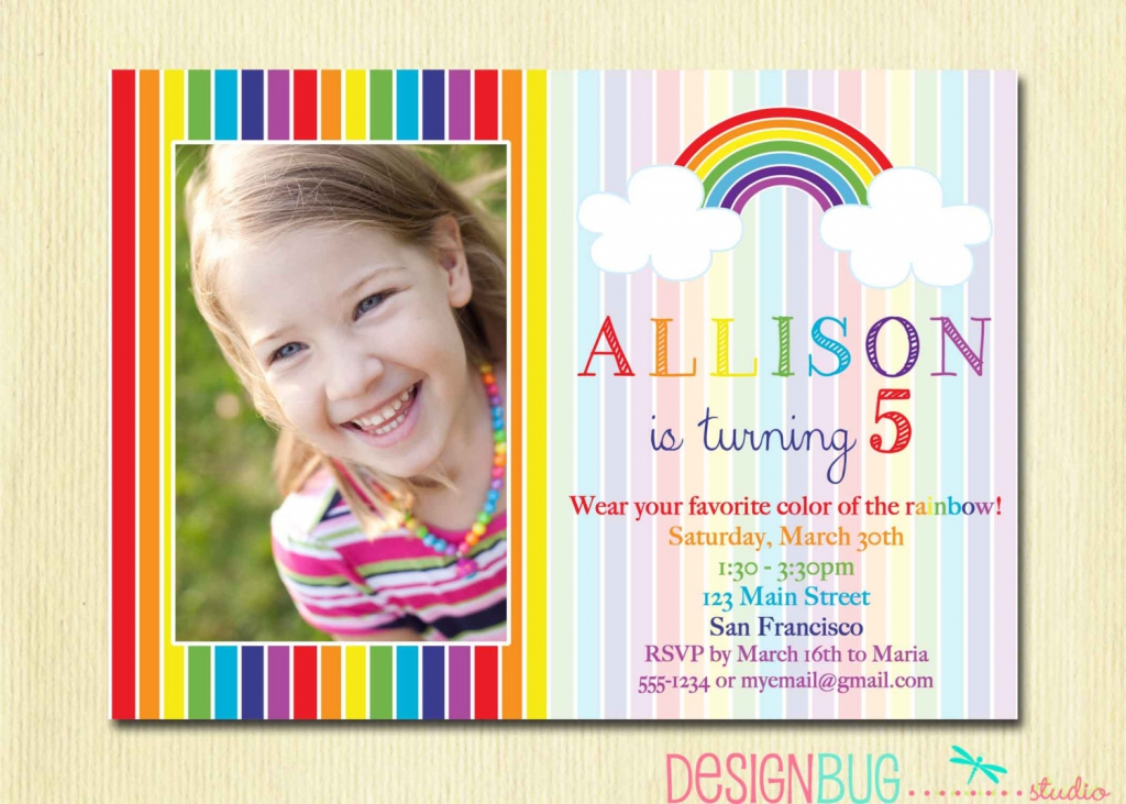 Rainbow 5th Birthday Invitation Wording Ideas
