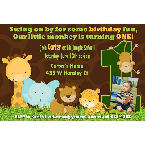 Safari Animals Photo 1st Birthday Party Invitation