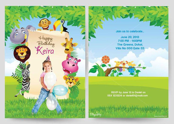 Safari Birthday Invitation Cards For Girl
