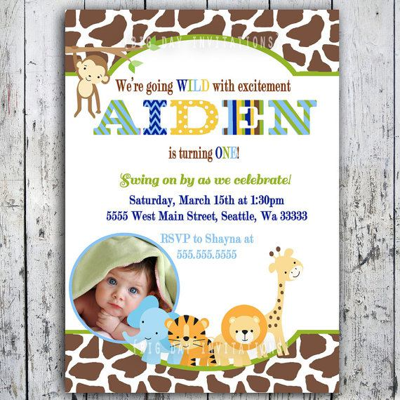 Safari Birthday Invitations Animal Theme Printable