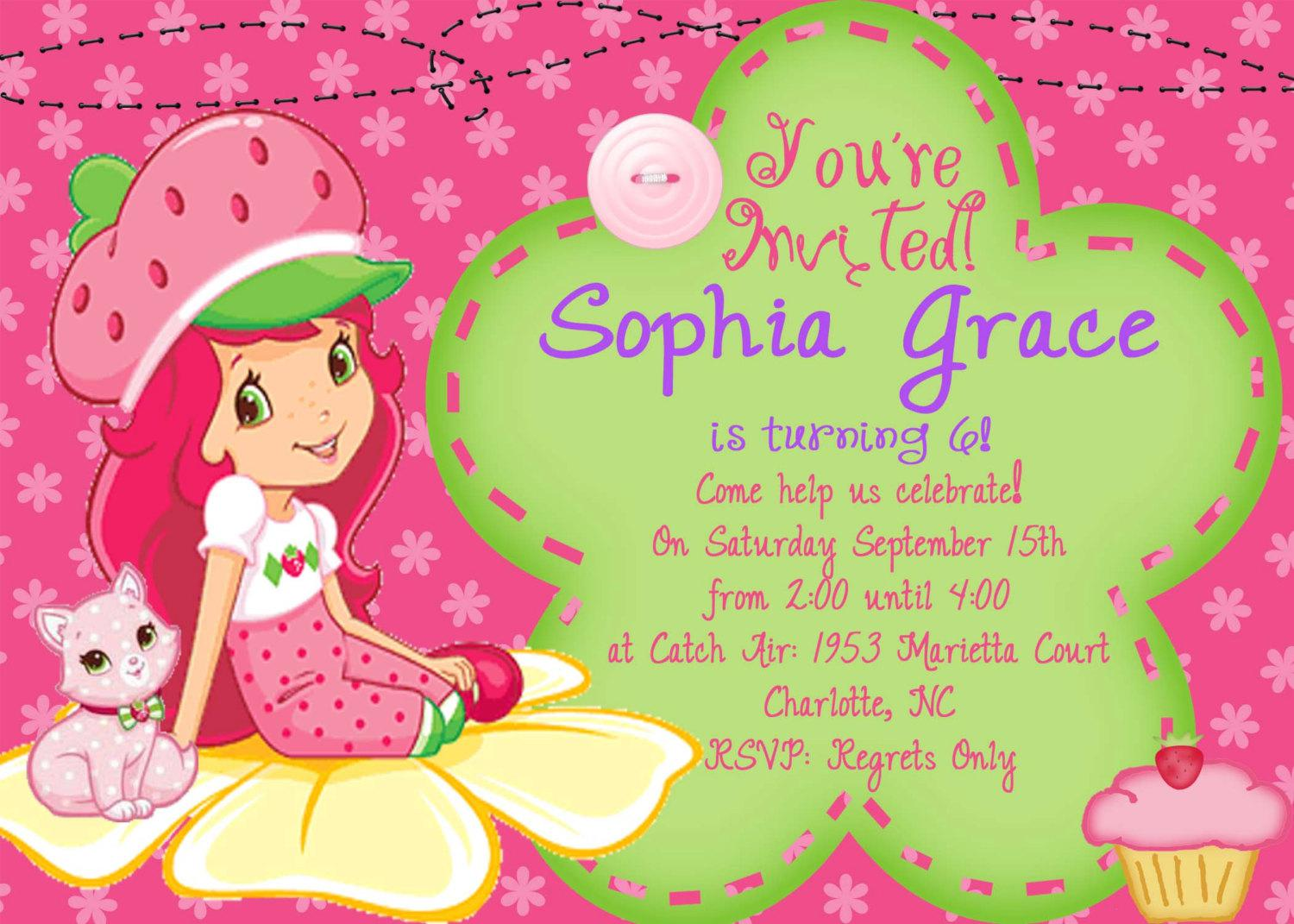 Strawberry Shortcake Birthday Invite Card