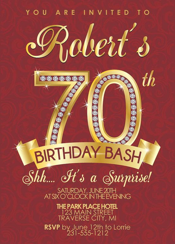Surprise Party 70th Birthday Invitations