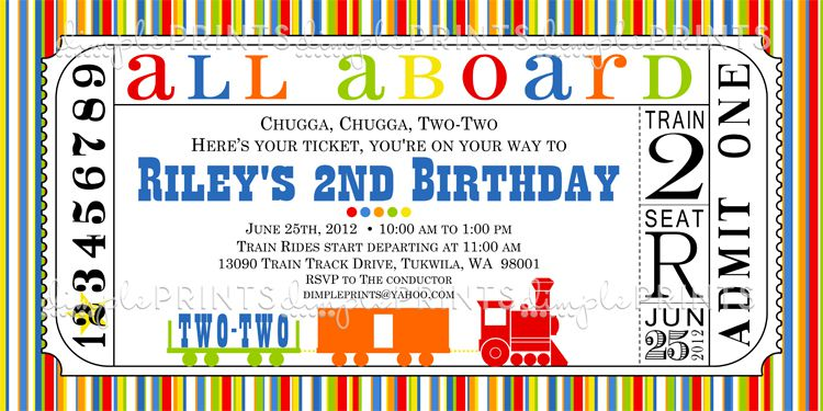 Train Invitations Birthday