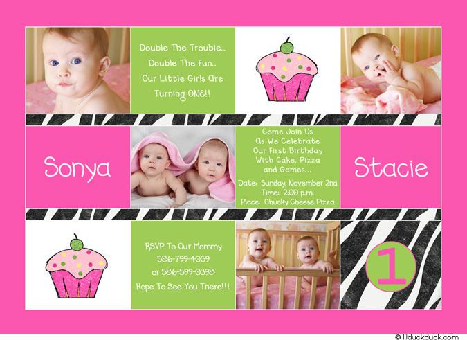 Twin Birthday Invitations Templates For Girls With Cup Cake and Photo