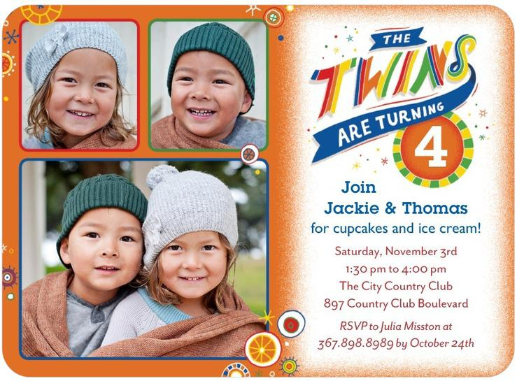 Twin Birthday Invitations With Photo