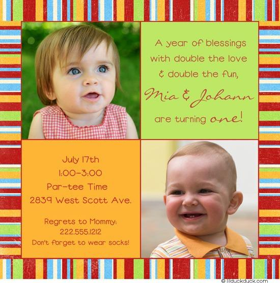 Twin Birthday Invitations Wording Ideas